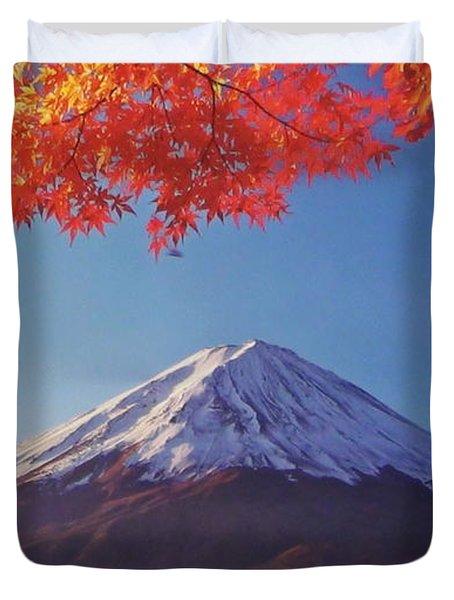 Fuji Shine In Autumn Leaves Duvet Cover