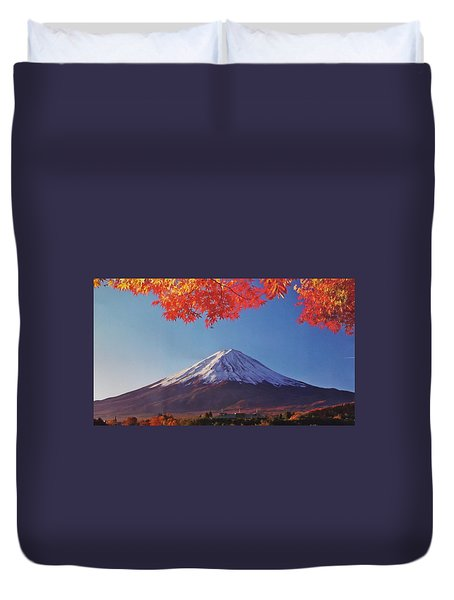Fuji Shine In Autumn Leaves Duvet Cover