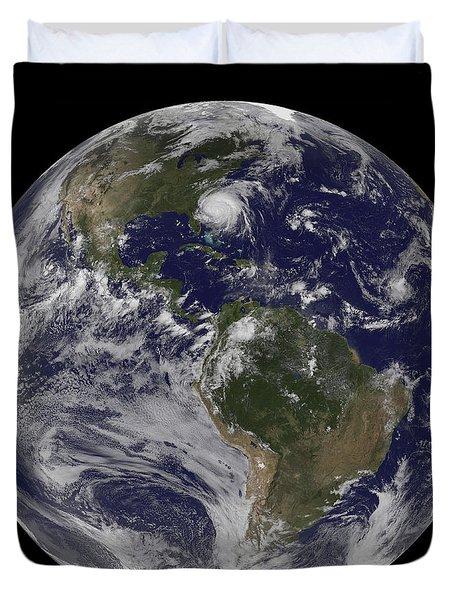 Full Earth With Hurricane Irene Visible Duvet Cover