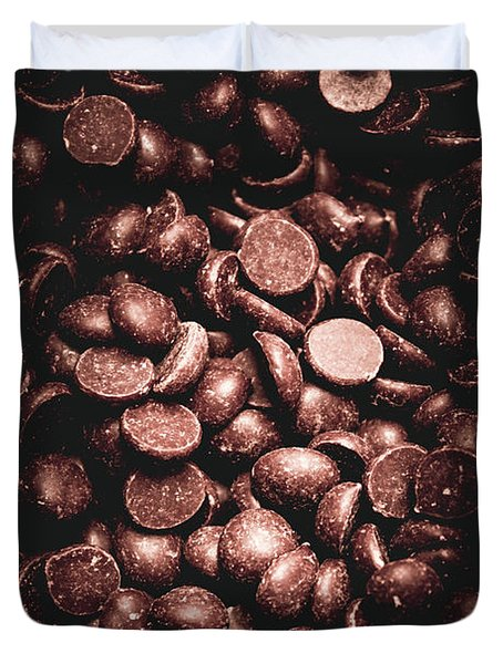 Full Frame Background Of Chocolate Chips Duvet Cover