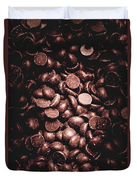 Full Frame Background Of Chocolate Chips Duvet Cover