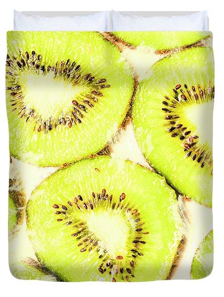 Full Frame Shot Of Fresh Kiwi Slices With Seeds Duvet Cover
