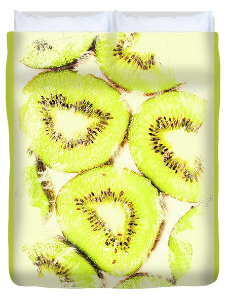 Full Frame Shot Of Fresh Kiwi Slices With Seeds Duvet Cover by Jorgo Photography - Wall Art Gallery