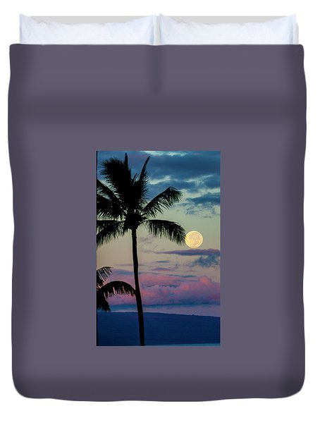 Full Moon And Palm Trees Duvet Cover