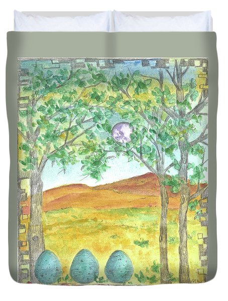 Duvet Cover featuring the drawing Full Moon And Robin Eggs by Cathie Richardson