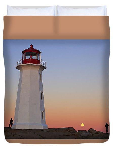 Full Moon At Peggy's Point Lighthouse, Nova Scotia Duvet Cover