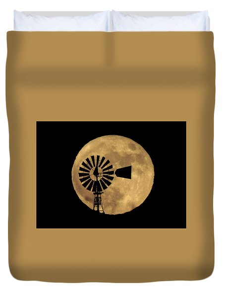 Full Moon Behind Windmill Duvet Cover