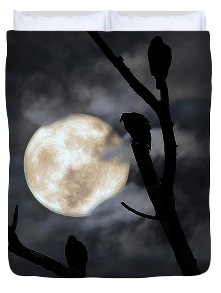 Duvet Cover featuring the photograph Full Moon Committee by Darren Fisher