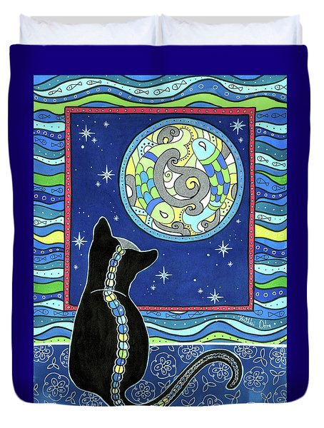 Pisces Cat Zodiac - Full Moon Duvet Cover