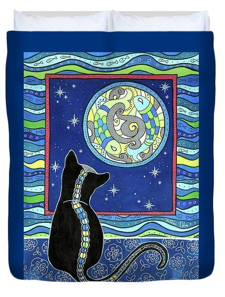 Pisces Cat Zodiac - Full Moon Duvet Cover