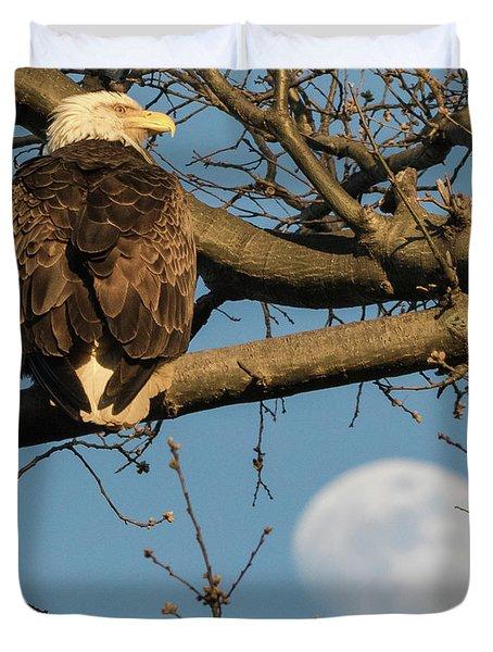 Full Moon Eagle  Duvet Cover