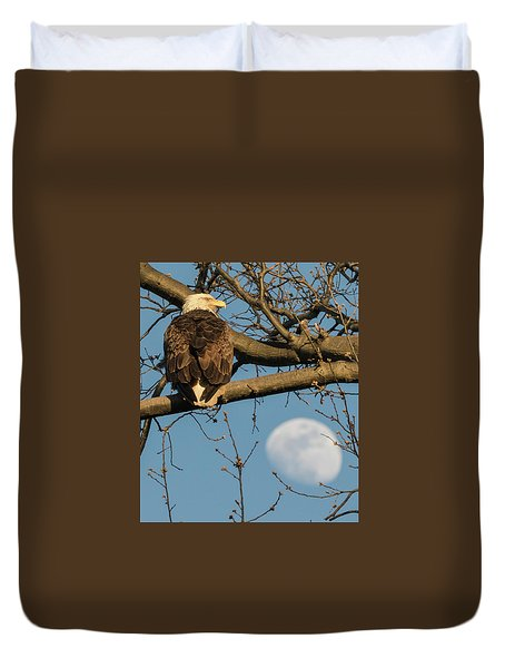 Full Moon Eagle  Duvet Cover