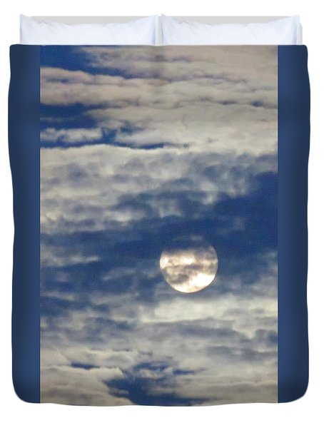 Full Moon In Gemini With Clouds Duvet Cover