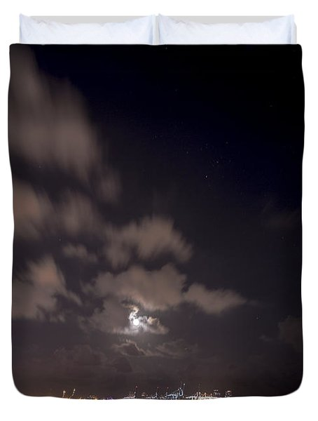 Full Moon In Miami Duvet Cover