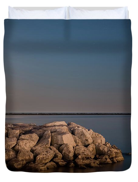 Full Moon In Port Duvet Cover