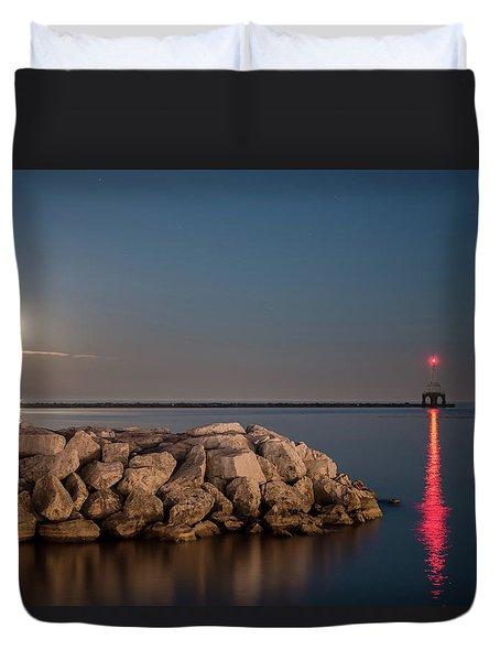 Full Moon In Port Duvet Cover