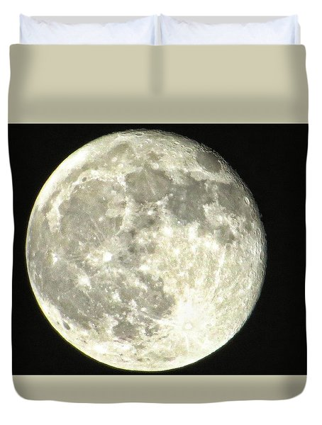Duvet Cover featuring the photograph Full Moon Love by Nikki McInnes