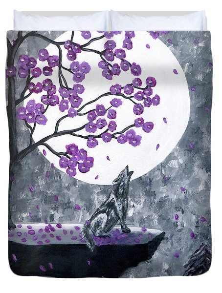 Duvet Cover featuring the painting Full Moon Magic by Teresa Wing
