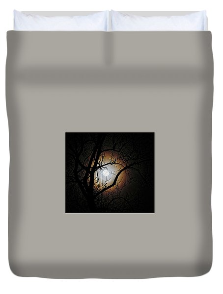 Full Moon Oil Painting Duvet Cover