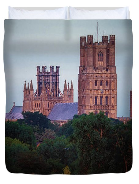 Full Moon Over Ely Cathedral Duvet Cover