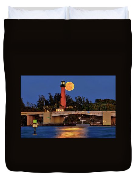 Duvet Cover featuring the photograph Full Moon Over Jupiter Lighthouse, Florida by Justin Kelefas