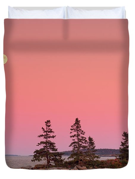 Duvet Cover featuring the photograph Full Moon Over Maine  by Emmanuel Panagiotakis