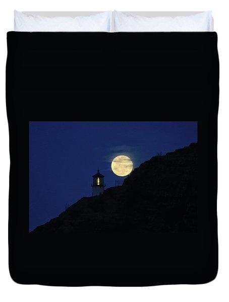 Full Moon Over Makapu'u Light Duvet Cover