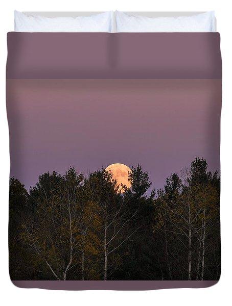 Full Moon Over Orchard Duvet Cover