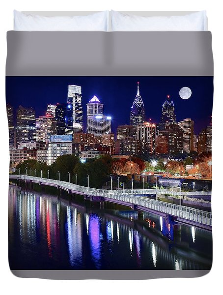 Full Moon Over Philly Duvet Cover by Frozen in Time Fine Art Photography