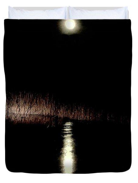 Full Moon Over Piermont Creek Duvet Cover