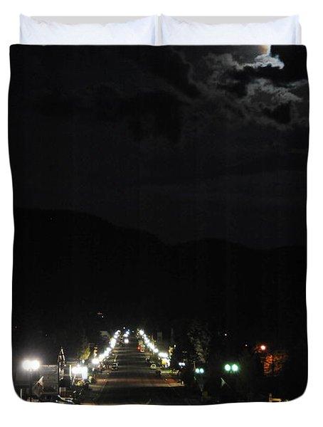 Full Moon Over Red River Duvet Cover