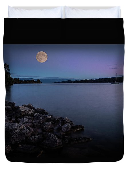 Full Moon Over The Lake Duvet Cover