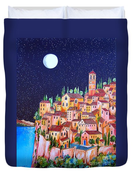 Full Moon Over The Village By The Lake Duvet Cover