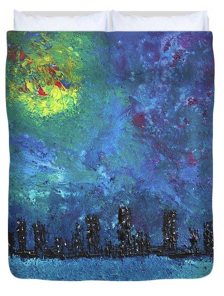 Full Moon Over Watercity Duvet Cover by Erik Tanghe