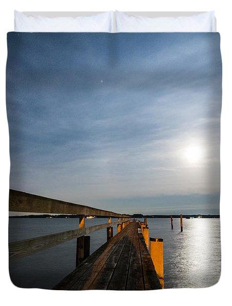Full Moon Pier Duvet Cover