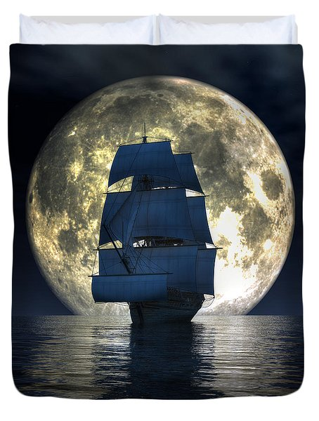 Duvet Cover featuring the digital art Full Moon Pirates by Daniel Eskridge