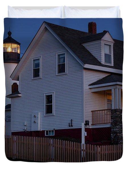 Full Moon Rise At Pemaquid Light, Bristol, Maine -150858 Duvet Cover