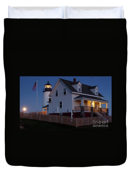 Full Moon Rise At Pemaquid Light, Bristol, Maine -150858 Duvet Cover
