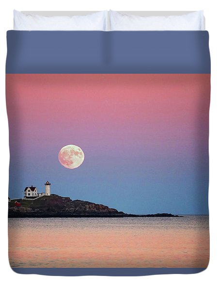 Duvet Cover featuring the photograph Full Moon Rising At Nubble Light by Wayne Marshall Chase