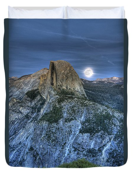 Full Moon Rising Behind Half Dome Duvet Cover