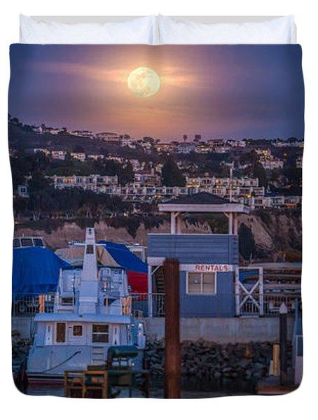 Full Moon Rising Over Dana Point Jet Ski Rental Duvet Cover