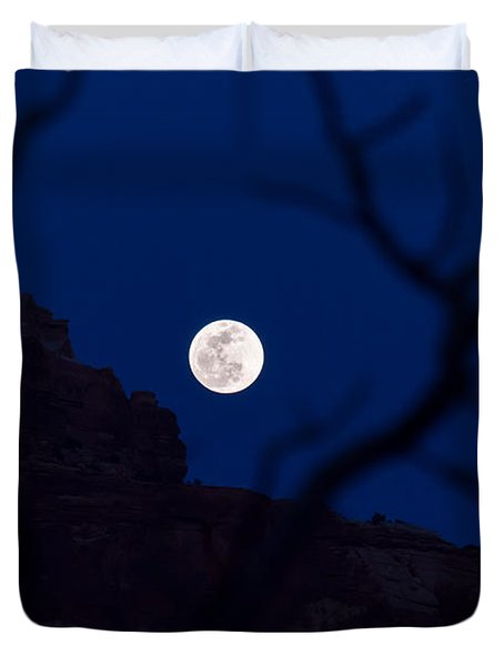 Full Moon Rising Over Desert Duvet Cover