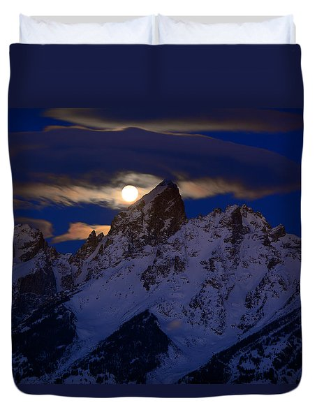 Full Moon Sets Over The Grand Teton Duvet Cover