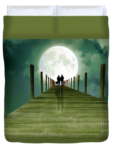 Full Moon Silhouette Duvet Cover by Mim White