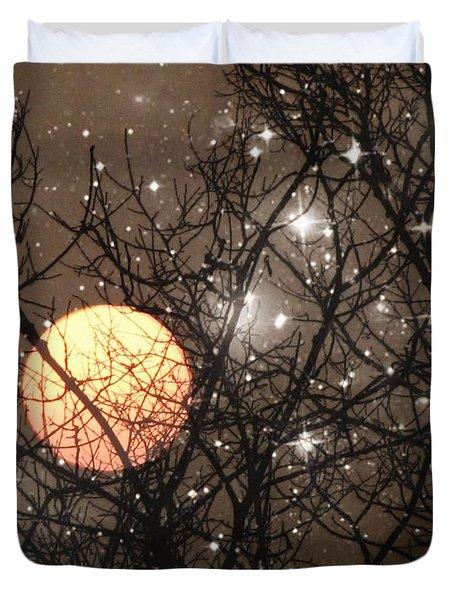 Full Moon Starry Night Duvet Cover