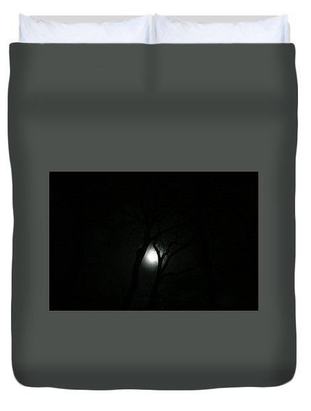 Duvet Cover featuring the photograph Full Moon Through Trees by Marilyn Hunt