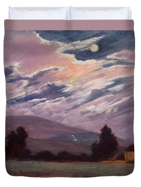 Full Moon With Clouds Duvet Cover