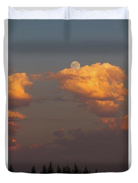 Full Moonrise Over Tree Silhouette Duvet Cover by David Gn