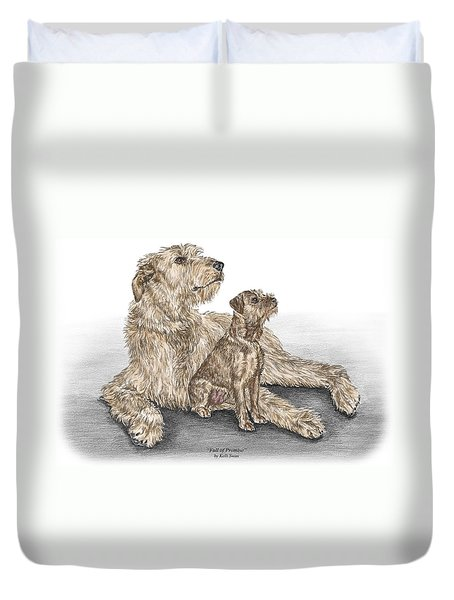 Full Of Promise - Irish Wolfhound Dog Print Color Tinted Duvet Cover by Kelli Swan