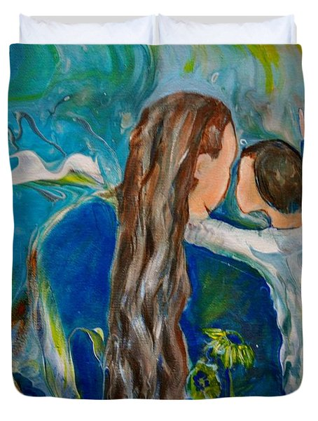 Duvet Cover featuring the painting Full Of Wonder by Deborah Nell
